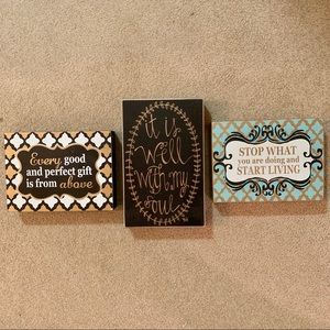 "8""x6"" wooden wall signs (3 set)"